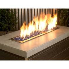 ETCO Fire Pit Natural Gas Linear Burner Pan Kit   Wayfair Gas Fire Logs, Gas Fires, Stainless Steel Fire Pit, Tabletop Fireplaces, Glass Fire Pit, Fire Pits, Fire And Stone, Glass Rocks, Fire Bowls