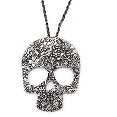 Couture By Lolita Filigree Skull Necklace (51 CAD) ❤ liked on Polyvore featuring jewelry, necklaces, accessories, collares, silver, collar jewelry, pendant jewelry, skull pendant, chain necklace and skull necklaces