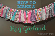 Sewing with Calliope - DIY Rag Garland by Tidewater Parent Rag Garland, Ribbon Garland, Fabric Garland, Bunting Garland, Garlands, Fun Crafts, Arts And Crafts, Birthday Fun, Birthday Ideas