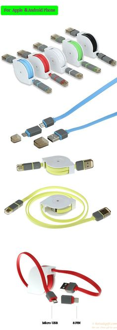 2 in 1 retractable sync charge usb data cable for iPhone and Android phones gift