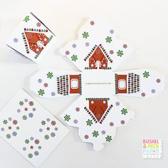 Gingerbread House Favor Boxes  SALE by BushelandPeckPaper on Etsy