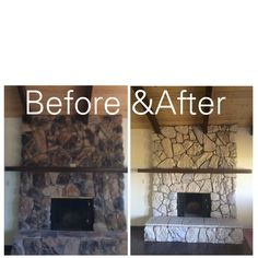 Here's an inexpensive way to update an ugly rock fireplace from the 80's!  2 colors of paint were used. Benjamin Moore Glacial Till and valspar Montpelier Ashlar Gray.  I covered the lava rock and stones with 2 coats, but I didn't paint over the grout.