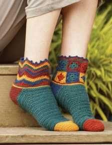 Free Granny Square Pattern #7   Beaux Jestes Socks by Tracy St. John  http://www.crochetme.com/Crochet-Granny-Squares/