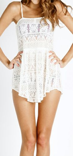 Lace coverup romper, perfect for a bathing suit cover up.