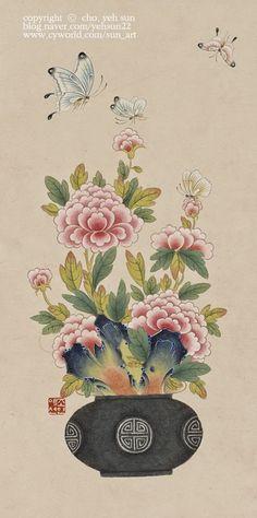 0번째 이미지 Korean Painting, Chinese Painting, Chinese Art, Folk Art Flowers, Flower Art, Japanese Flowers, Japanese Art, Contemporary Decorative Art, Chinese Drawings