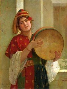 the tambourine player by Christen Brun 1828 - 1905 ( Norwegian )