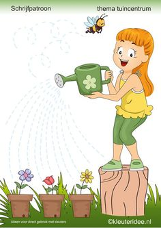 to water the flowers pre writing Preschool Writing, Preschool Worksheets, Preschool Activities, Pre Writing, Writing Skills, Spring Activities, Home Learning, Working With Children, Home Schooling