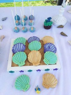 Mermaid birthday party shell cookies! See more party ideas at CatchMyParty.com!