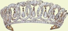 The 'Grand Duchess Vladimir Tiara'  is comprised of 15 intertwined diamond-set ovals from which hang pendant pearls. The pendant pearls can be interchanged with emeralds and The Queen has worn the tiara with both arrangements during her reign.  The Vladimir Tiara, sometimes referred to as the Diamond and Pearl Tiara, was purchased in 1921 by Queen Mary, who bought it from Grand Duchess Elena Vladimirovna of Russia, aunt of Tsar Nicholas II. Grand Duchess Elena Vladimirovna had inherited it fr...