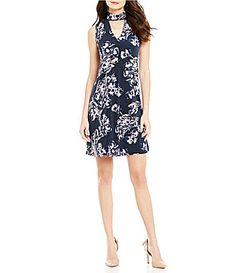 Ivanka Trump Choker VNeck Floral Print Matte Jersey ALine Dress #Dillards