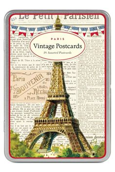 "This beautiful set of Paris postcards (or ""Carte Postale"" in French) features 18 assorted postcards with classic vintage Parisian images from the Cavallini archives all in a wonderful reusable tin box. Made by Cavallini and Co. these are printed on high quality classic cream paper stock. These postcards are truly a joy for sender and receiver alike.  Paris Vintage Postcards by Cavallini & Co. Home & Gifts - Gifts - Stationery & Office Boulder Colorado"
