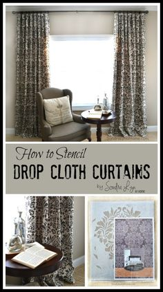 How to Stencil Drop Cloth Curtains - Sondra Lyn at Home