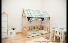 Bed house is an amazing place for children where they can sleep and play. This adorable bed-house will make transitioning from a cot to a bed smoothly. Bed is designed following Montessori...