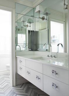 Spa Like Bathroom With Custom Vanity And Built In Mirror