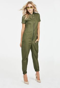 $45 Straight from Project Runway Season 15, this jumpsuit features a button-front bodice with zipper closure, contrasting ribbed neck, cuffed sleeves, two hip pockets, two back pockets, and a contrasting back inlay....