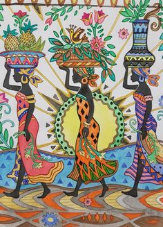 Watercoloring by Pauline - Africa Arte Tribal, Tribal Art, Afrique Art, African Art Paintings, Mandala, Art Africain, Black Artwork, Krishna Art, African American Art