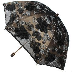 Elegant Embroidery Lace Flower Anti UV Sun Rain Folding Umbrella Vintage Parasol #ZUIM15132 #Parasol