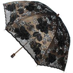 Elegant Embroidery Lace Flower Anti UV Sun Rain Folding Umbrella Vintage Parasol #ZUIM15132 #Parasol