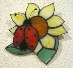✿ LADYBUG WITH SUNFLOWER ✿ TIFFANY STAINED GLASS - Dare-To-Dream - Window decorations