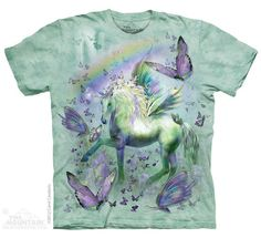 T-shirt | Unicorn and Butterflies T-shirts  $19.99 This high quality T-shirt is hand dyed and printed in the United States. This is not an iron-on decal that will crack and flake off. The ink is deeply embedded in the fibers which guarantees a long lasting print design and extraordinary comfort.  100% Cotton Pre-shrunk