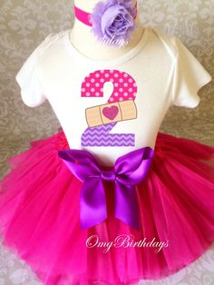 Doc Mcstuffins Doc is in Pink Purple Polka Dot Birthday Outfit dress set 6m 4T