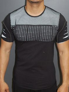 Y&R Men Ripped Perforated Zip Mesh Top T-Shirt - Black