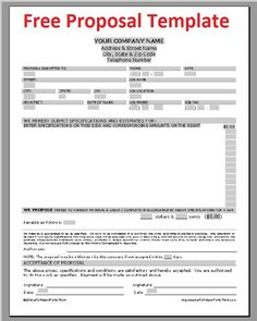 Printable Blank Bid Proposal Forms Construction Proposal Bid Form - Contractor bid template