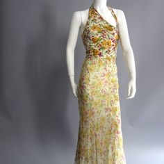 JOHN GALLIANO for CHRISTIAN DIOR Floral Cashmere and Chiffon Bias Gown | From a collection of rare vintage evening dresses at https://www.1stdibs.com/fashion/clothing/evening-dresses/