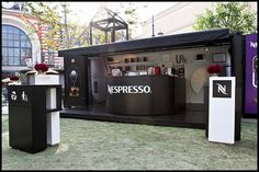 Shipping Container converted into pop-up shop for Nespresso  We took a standard 20′ shipping container and converted it into a portable luxurious pop-up by Readyset Inc.