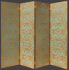 Japanese artist Yaeko Kurimata stenciled screen door - Furniture stenciling and painted furniture