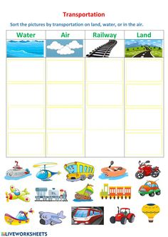 Transportation Preschool Activities, Transportation Worksheet, Transportation Activities, Preschool Learning Activities, Preschool Printables, Kindergarten Worksheets, Toddler Activities, Kids Learning, Preschool Arts And Crafts