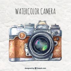 Watercolor camera in retro style Free Vector Camera Painting, Camera Drawing, Camera Art, Painting & Drawing, Estilo Retro, Diy Photo, Kamera Tattoos, Mago Tattoo, Illustrations And Posters