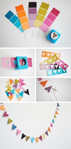 Heart Paint Chip Garland out of paint samples