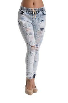 Women's Denim Jogger Pants RJJ318 - C11D