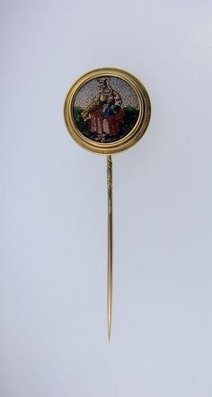 Fine Antique Victorian Era Micro Mosaic Cravat or Stick Pin, 18K Gold from chartreuse on Ruby Lane