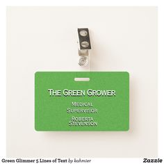Green Glimmer 5 Lines of Text Badge