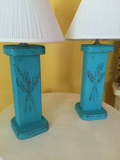 "Table Lamps Set ""Solid Wood Blue Bluish Shabby chic""   Nelson Kivan Francois Furniture Designer Romeo Antique & Vintage Furniture Shabby Chic Boutique"