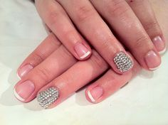 French with rhinestone bling finger