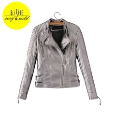 Sale US $40.79  BiSHE Leather Jacket Women Winter Metal Color Silver Golden Pink Slim Pu Leather Zipper Basic Jacket Autumn Coat Women 2017  . Get here: Beige Leather Jacket Womens.