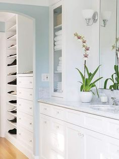 Add a Dressing Area - Love this! ... but you still need a walk-in robe for hanging space, etc.  In the adjoining dressing area, a built-in dresser and a floor-to-ceiling shoe shelf offer plenty of storage without taking up a single inch of floor space