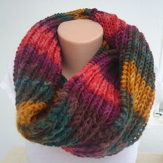 Unisex extra  soft knit chunky  infinity scarf ,ready to ship scarf ,dark knit scarf,fall colors knit infinity  scarf,chunky  fall scarf