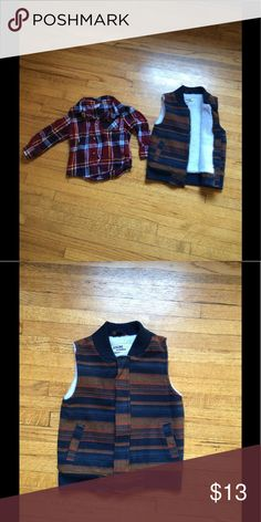 Boys bundle Boys Flannel shirt and vest Shirts & Tops Button Down Shirts