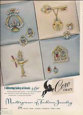 1946 CORO Craft Rhinestone PINS Brooches Earrings vintage costume JEWELRY Ad