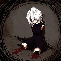 Anime. Anime Girl. Skirt. Guro. Blood. Gore. Short White Hair.