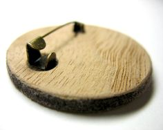 Music note brooch / Felt and wood brooch/ Grass green от Arabela