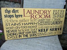 Laundry Room typography word art sign by AmericanAtHeart on Etsy