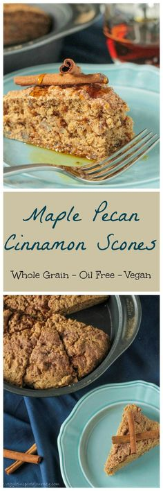 Maple Pecan Cinnamon Scones - these easy scones are made with healthy whole grain wheat, flax and pecans and are lightly sweetened with pure maple syrup making them the perfect treat any time of day! #vegan #scones #cinnamon #healthy #dairyfree #baking