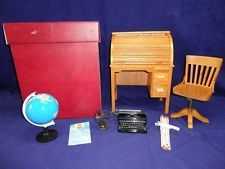 American Girl Doll Kit Rolltop Desk Typewriter Globe & New Pencils Fan Sharpener