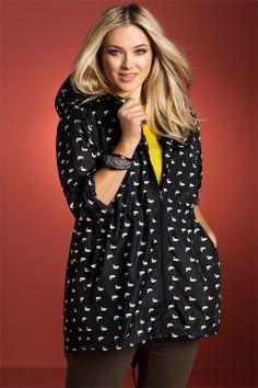 Plus Size Women's Fashion - Sara Spray Jacket in Black Duck - EziBuy Australia