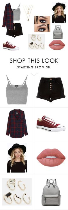 """Outfit #21"" by taylor-ross115 on Polyvore featuring Topshop, River Island, Rails, Converse, RHYTHM, Lime Crime and Oasis"
